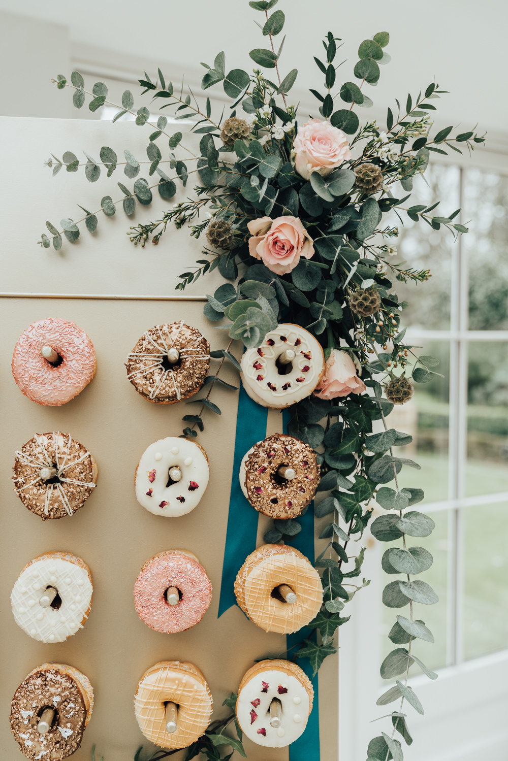 Donuts Doughnuts Stand Wall Greenery Floral Flowers Pegs Hoop Wedding Ideas Rebecca Carpenter Photography