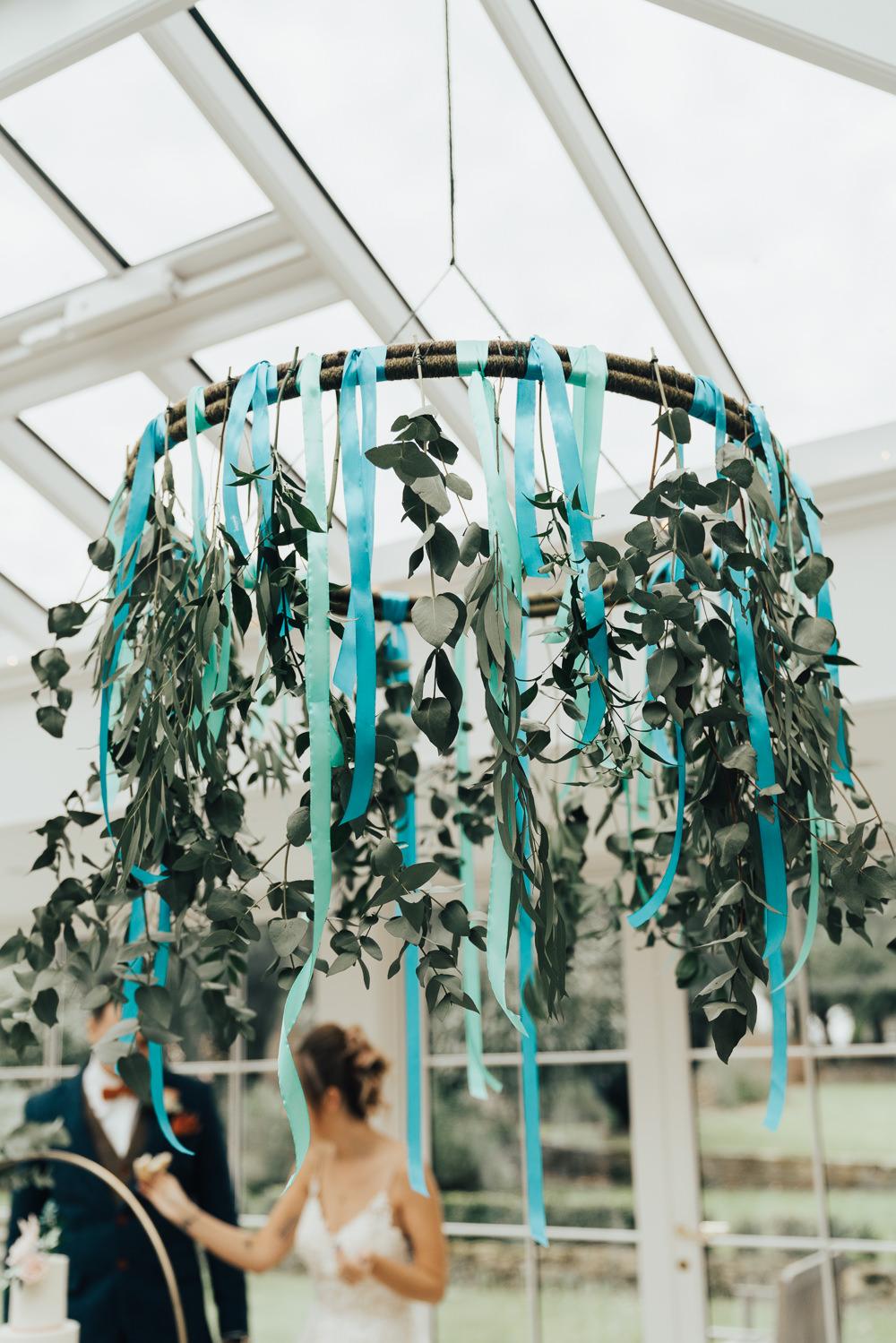 Hanging Flowers Suspended Ribbon Greenery Foliage Hoop Wedding Ideas Rebecca Carpenter Photography