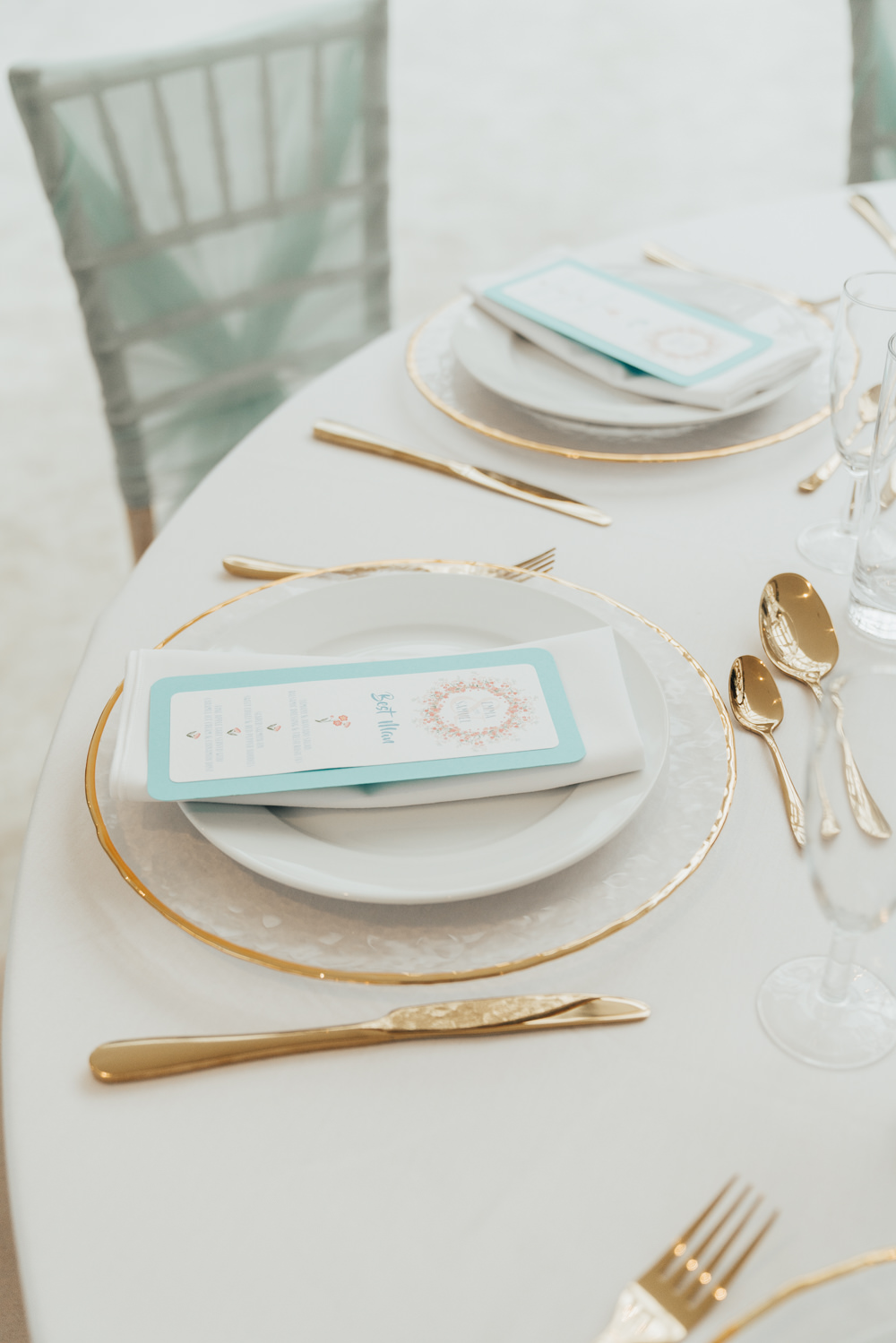 Table Setting Plates Stationery Gold Cutlery Hoop Wedding Ideas Rebecca Carpenter Photography