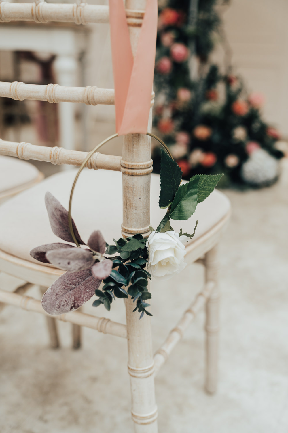 Wreath Flowers Pew End Aisle Ceremony Chair Hoop Wedding Ideas Rebecca Carpenter Photography