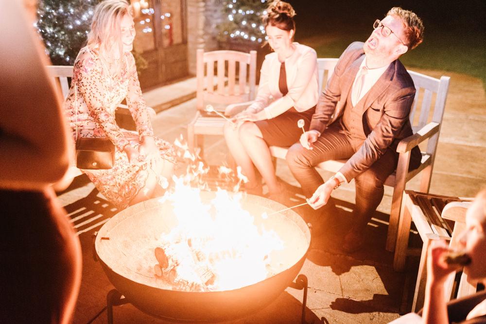 Firepit Kingscote Barn Wedding Oobaloos Photography