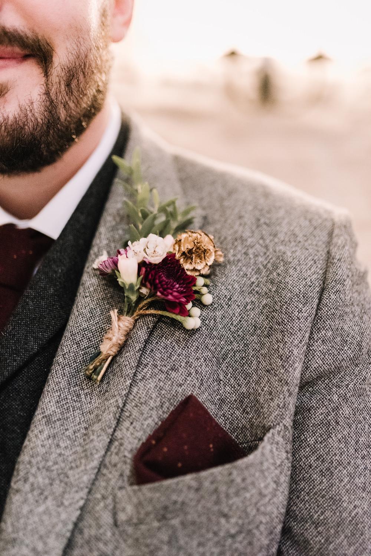 Groom Suit Groomsmen Grey Burgundy Red Ties Tweed Buttonhole Flowers Kingscote Barn Wedding Oobaloos Photography