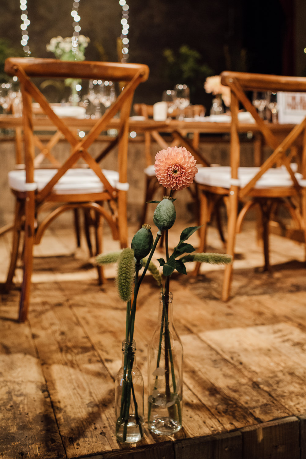 Bottle Flowers Decor Dahlia Seed Head St Paul's Cathedral Wedding The Shannons Photography