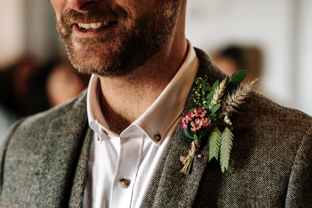 Tweed Jacket Buttonhole Groom Stanford Farm Wedding Andy Griffiths Photography