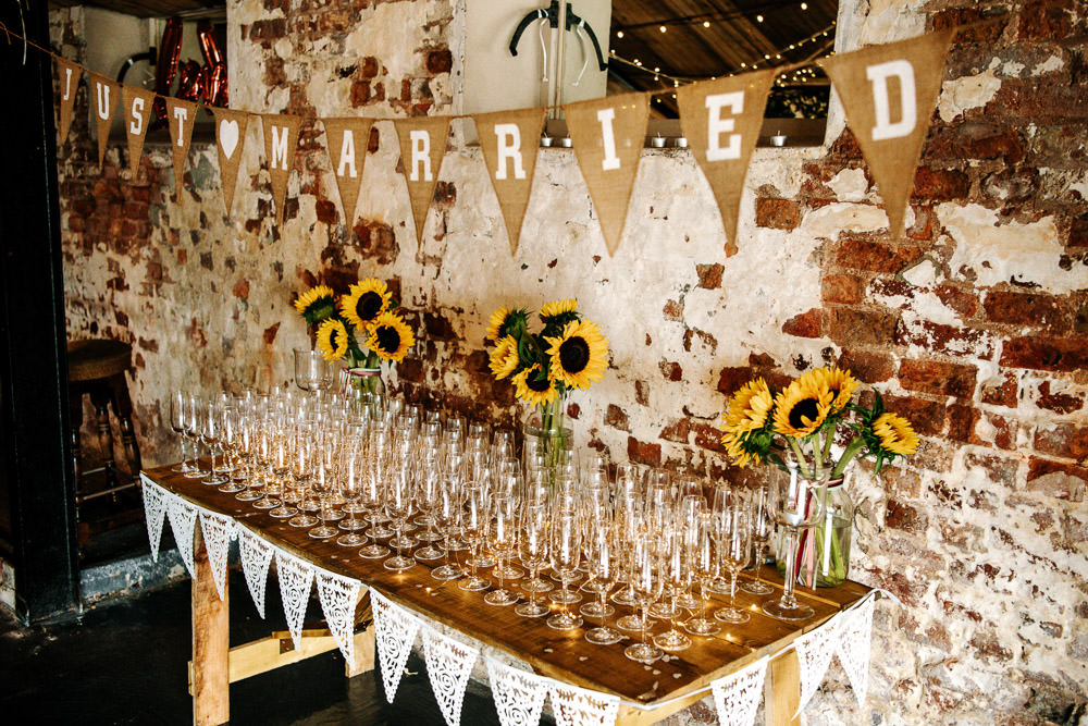 Just Married Bunting Sunflowers Drinks Table Stanford Farm Wedding Andy Griffiths Photography