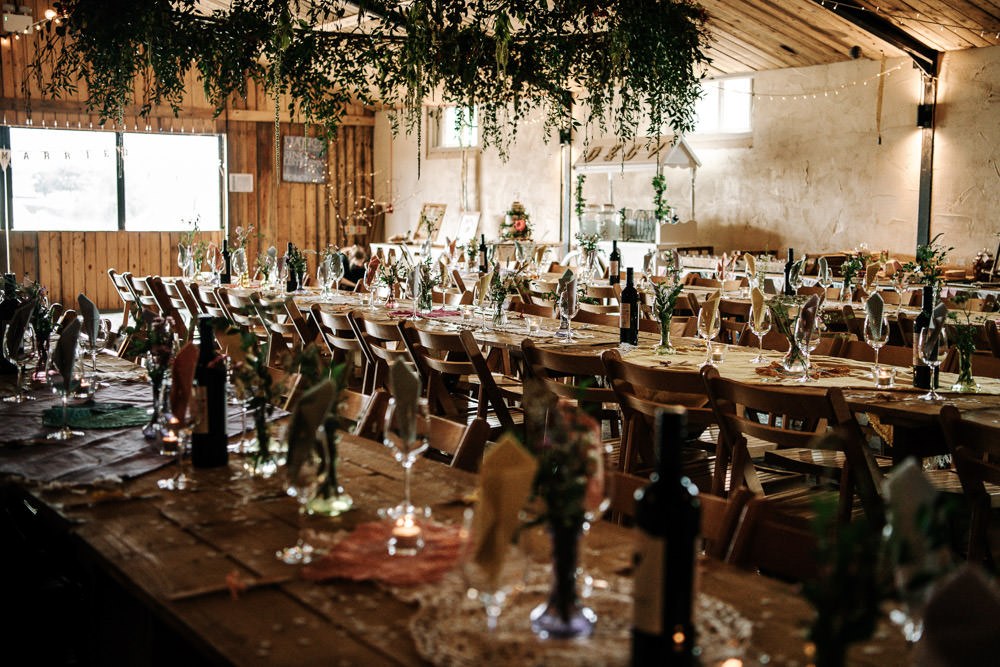 Rustic Wooden Tables Hanging Foliage Stanford Farm Wedding Andy Griffiths Photography
