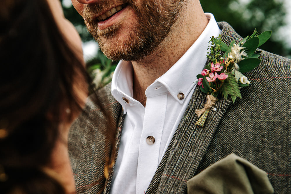 Tweed Suit Groom Buttonhole Twine Stanford Farm Wedding Andy Griffiths Photography