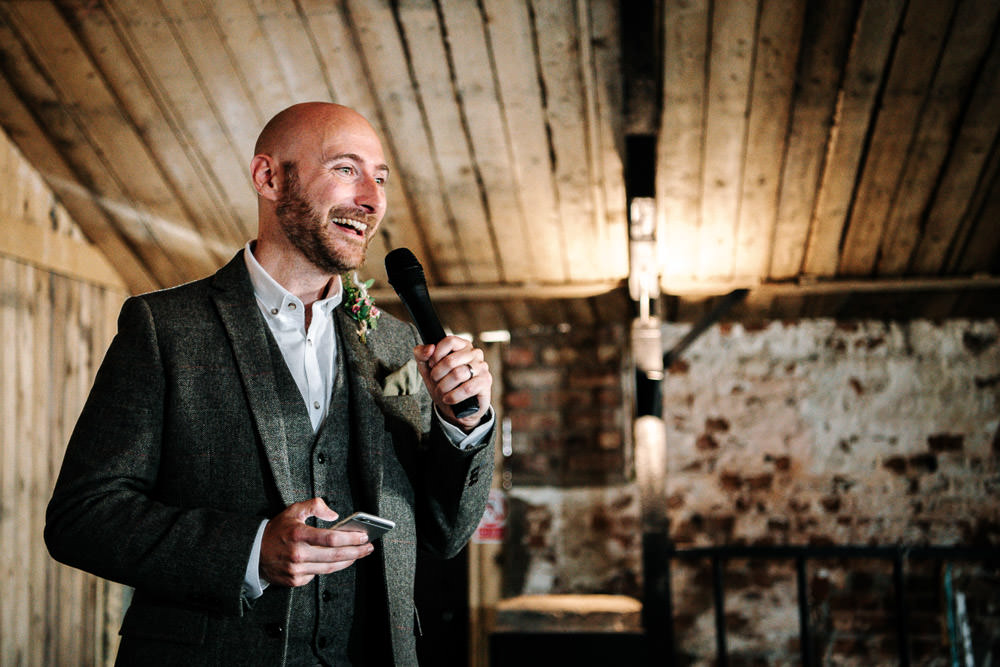 Tweed Suit Waistcoat Groom Stanford Farm Wedding Andy Griffiths Photography
