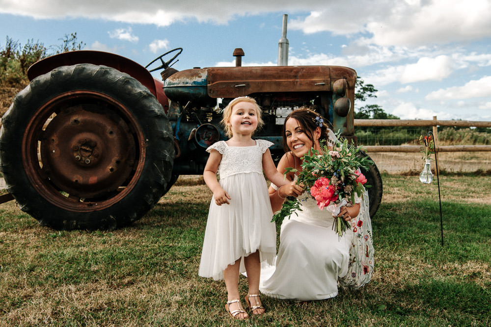 Bride Bridal Dress Gown Lace Detail Drop Cold Shoulder Ribbon Bow Sleeveless Flower Girl Floral Veil Stanford Farm Wedding Andy Griffiths Photography