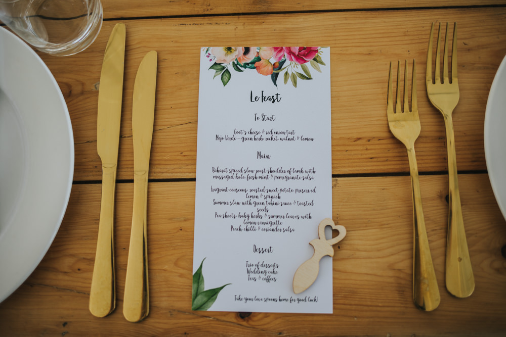 Welsh Wooden Love Spoon Floral Stationery Menu Place Setting Wimborne House Wedding Eva Photography