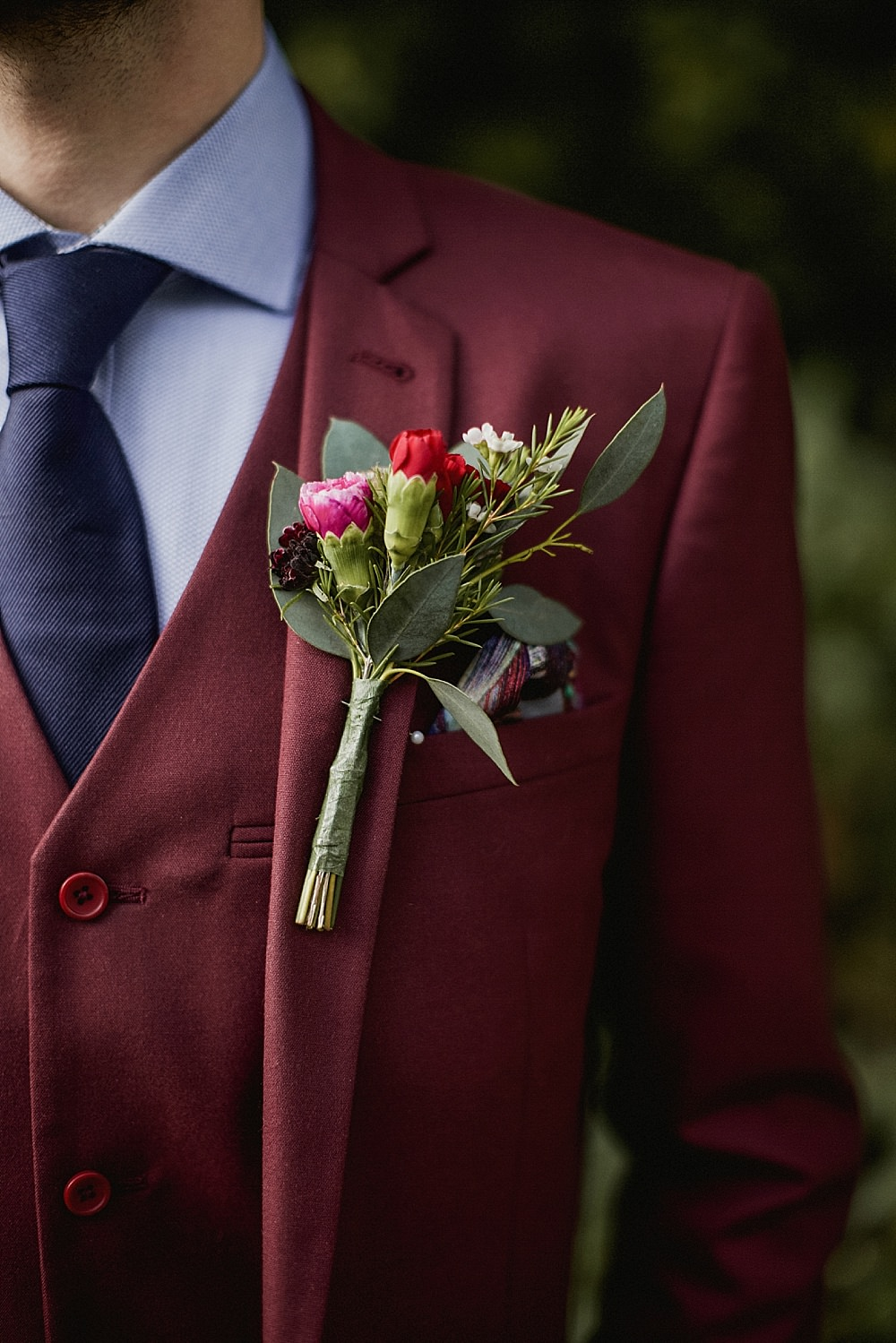 Groom Suit Burgundy Navy Tie Buttonhole Flowers Abbeydale Picture House Wedding We Are Da Silva