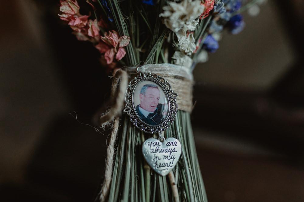 Bride Bridal Bouquet Locket Charm Photo Chilli Barn Wedding Stevie Jay Photography