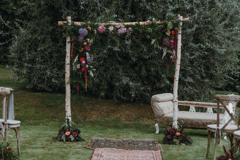 Ceremony Arch Floral Greenery Persian Rug Felin Newydd House Wedding Christopherian.co.uk