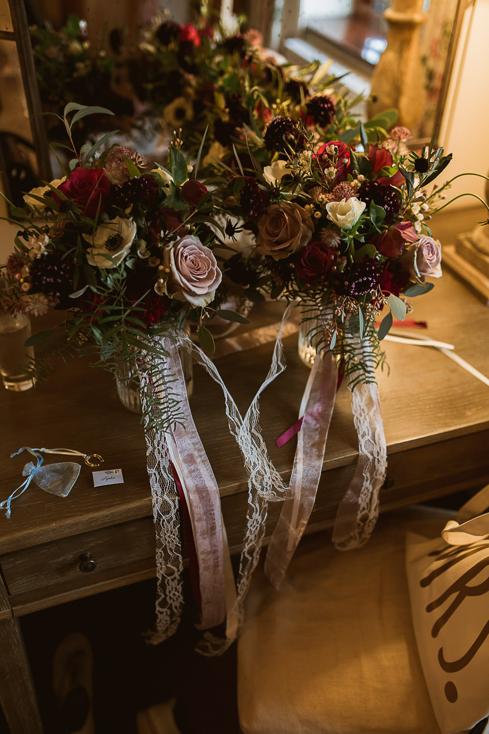Bouquet Flowers Bride Bridal Foliage Greenery Rose Anemone Ribbons Gate Street Barn Wedding The Springles
