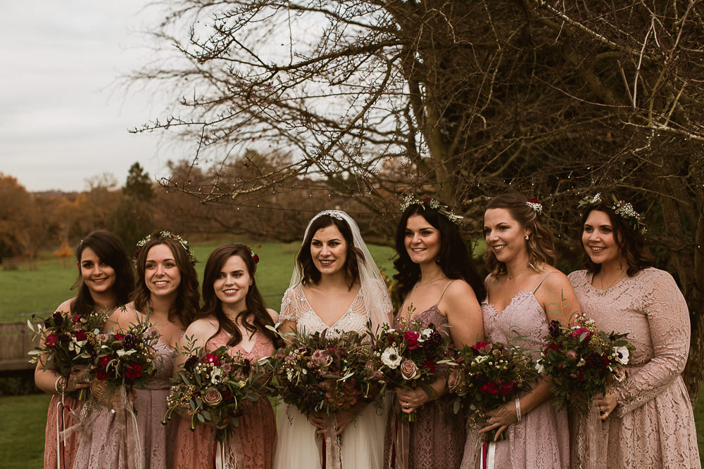 Bridesmaids Pink Coral Dress Dresses Gate Street Barn Wedding The Springles