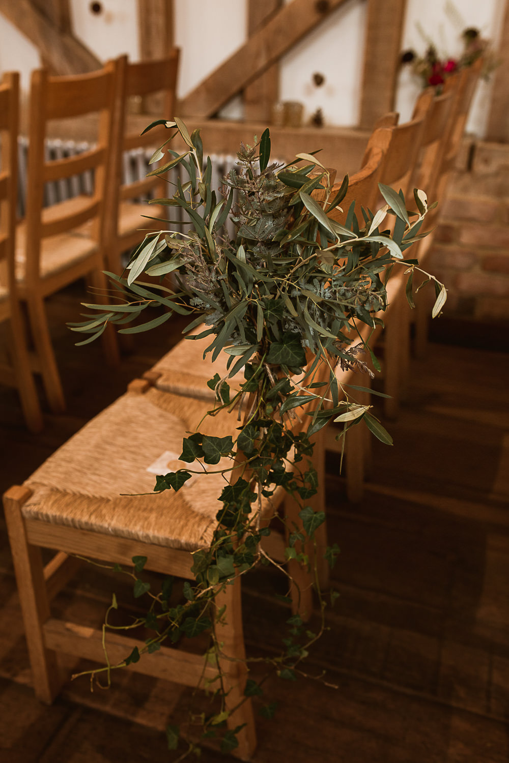 Foliage Greenery Pew End Chair Aisle Flowers Gate Street Barn Wedding The Springles
