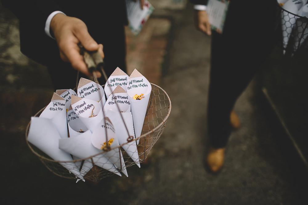 Confetti Cones Gilbert Whites House Barn Wedding Carrie Lavers Photography