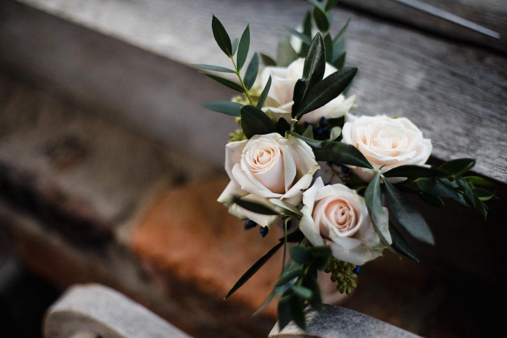 Peach Rose Foliage Hornington Manor Wedding Chris Barber Photography