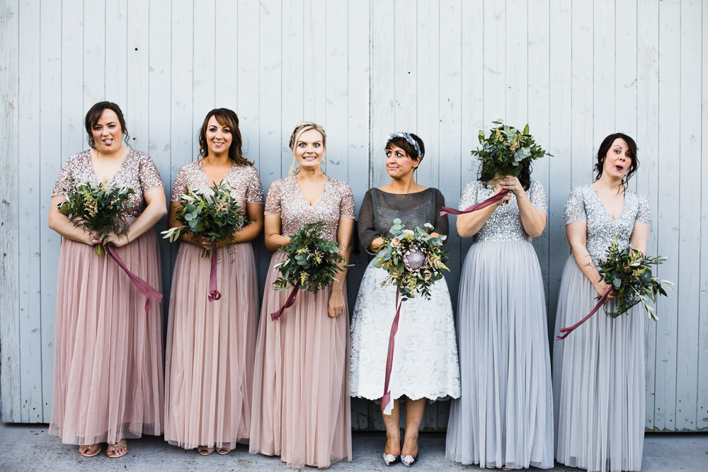 Bride Bridal Tea Length Short Skirt Jumper Leaf Headpiece Pink Grey Sparkly Maxi Bridesmaids Bouquet Hornington Manor Wedding Chris Barber Photography