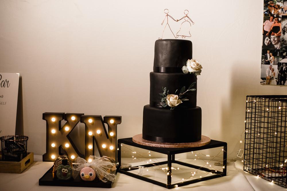 Black Matt Cake Wire Topper Circus Light Letter Hornington Manor Wedding Chris Barber Photography