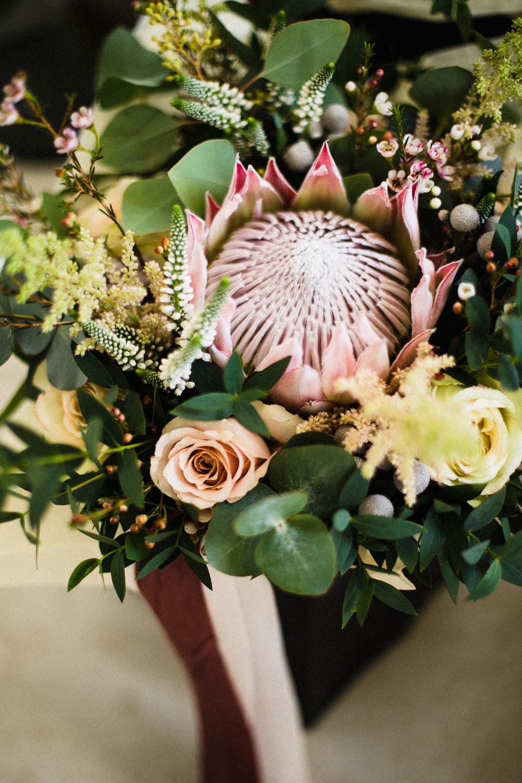 Bride Bridal Bouquet King Protea Hornington Manor Wedding Chris Barber Photography
