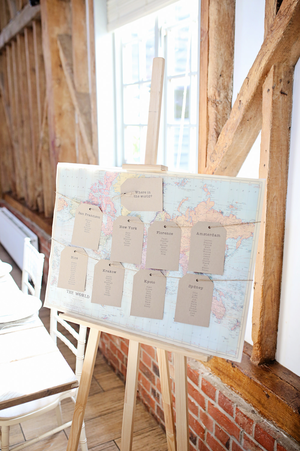 Map Travel Seating Plan Table Chart Luggage Tags Milling Barn Wedding Victoria Mitchell Photography