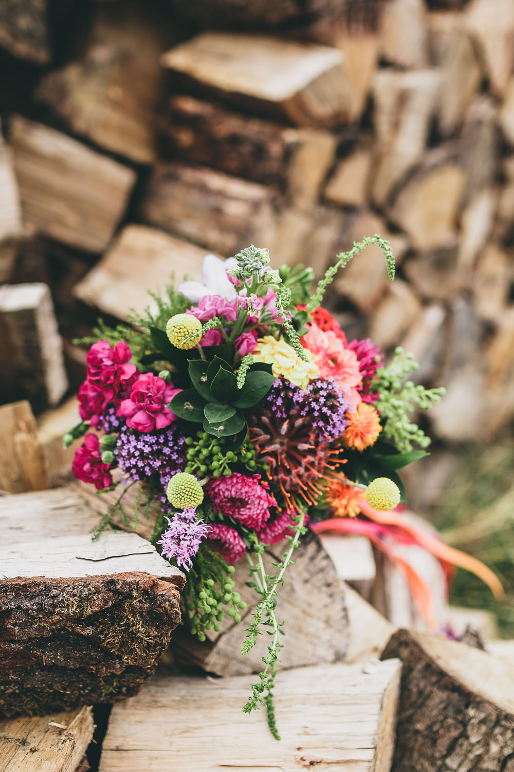 Bouquet Flowers Bride Bridal Colourful Bright Ribbons Pink Purple Yellow Billy Balls Rock Village Hall Wedding Lucie Hamilton Photography