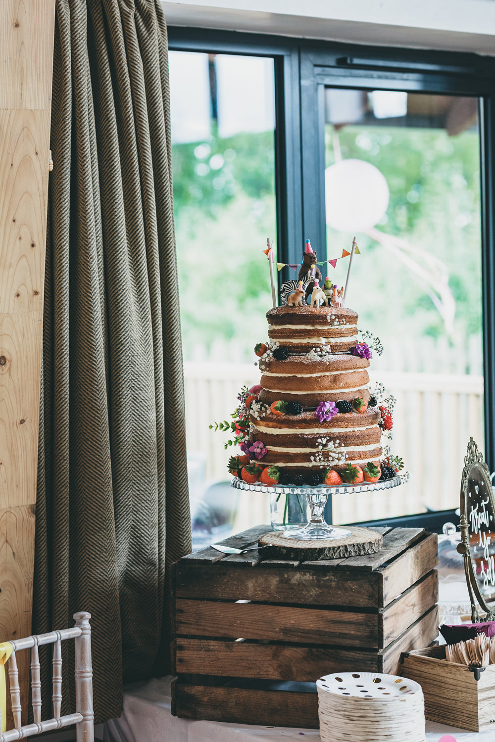 Naked Cake Layer Sponge Flowers Berries Crate Stand Rock Village Hall Wedding Lucie Hamilton Photography