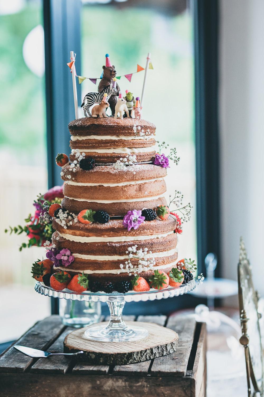 Naked Cake Layer Sponge Flowers Berries Rock Village Hall Wedding Lucie Hamilton Photography