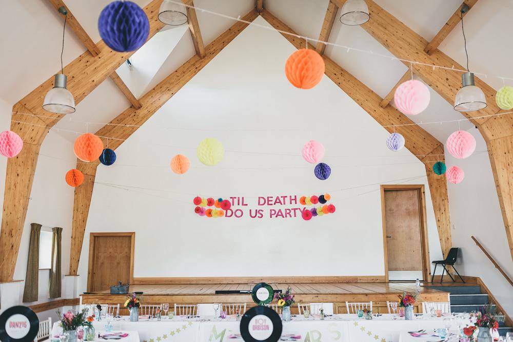 Banner Sign Signage Til Death Us Do Party Lanterns Decor Colourful Banner Sign Rock Village Hall Wedding Lucie Hamilton Photography