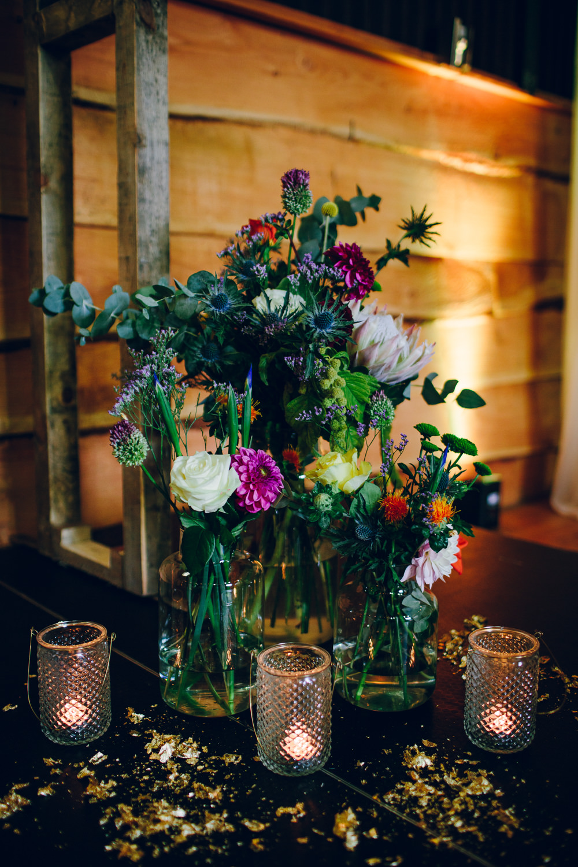 Jar Candle Multicoloured Flowers Florals Tatton Wedding Stock Farm Barn Amy B Photography