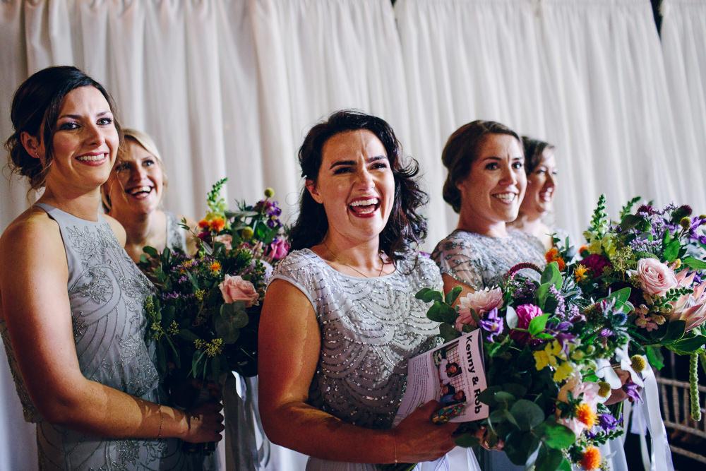 Bridesmaids Grey Beaded Embellished Dress Mismatched Tatton Wedding Stock Farm Barn Amy B Photography