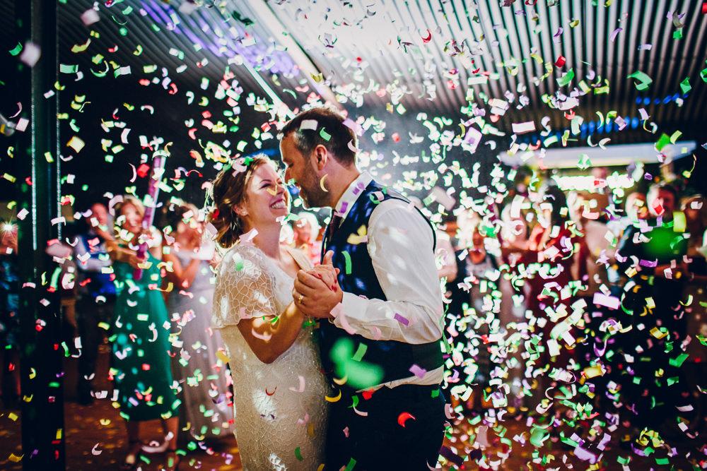 Bride Bridal V Neck Sleeves Beaded Detail Dress Gown Waistcoat Groom Confetti Tatton Wedding Stock Farm Barn Amy B Photography