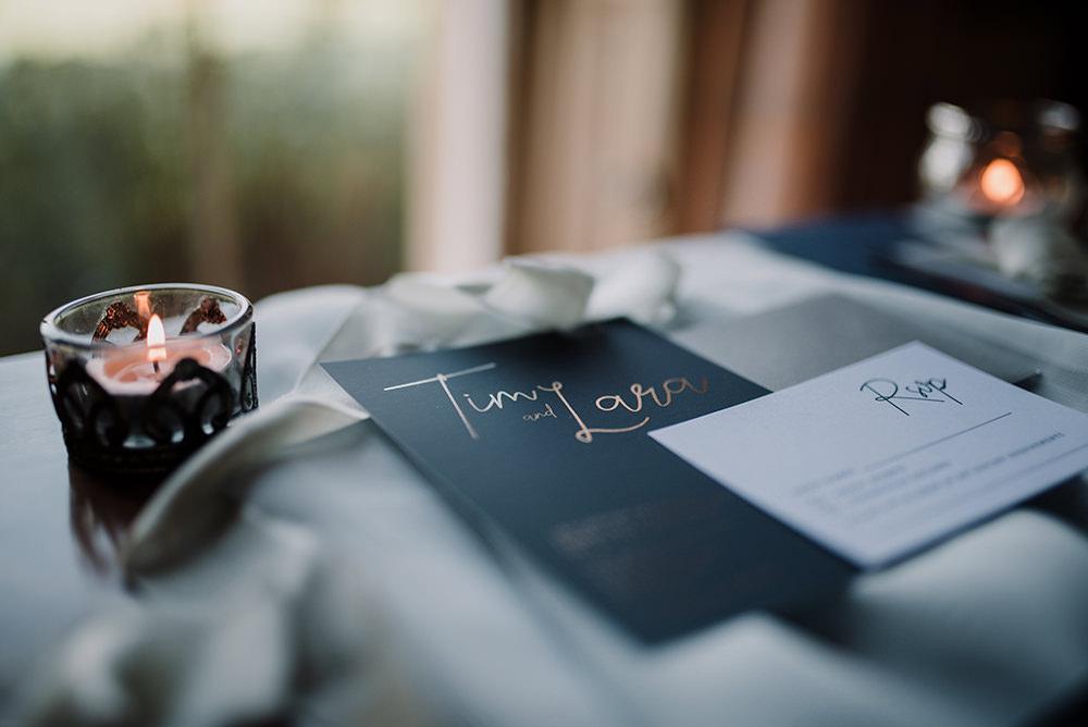 Grey Silver Invites Invitations Stationery Modern Calligraphy Blue Wedding Ideas Emma McNair Photography