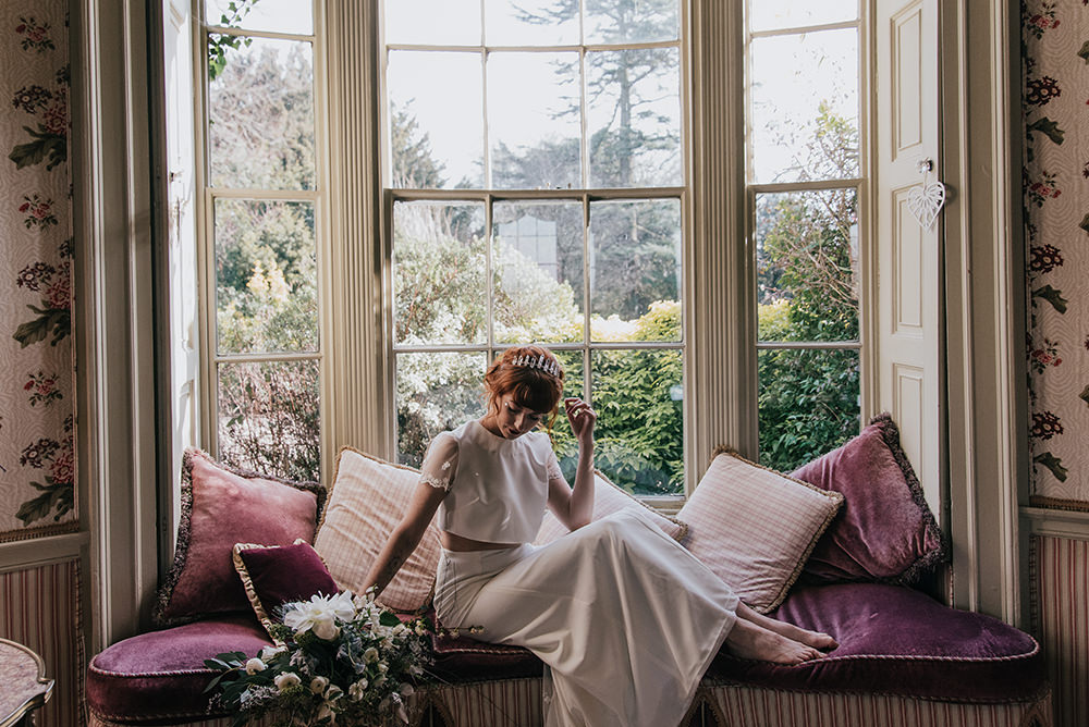 Bride Bridal Dress Gown Top Skirt Crop Sleeves Lace Two Piece Blue Wedding Ideas Emma McNair Photography