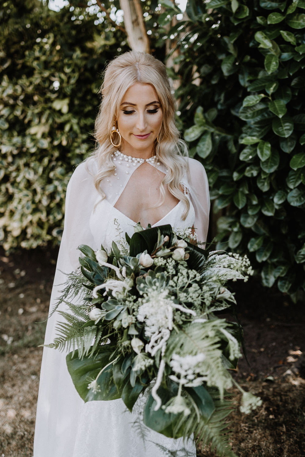 Bouquet Flowers Greenery Foliage Bride Bridal Cape Fern Astilbe Botanical Industrial Wedding Caitlin and Jones Photography