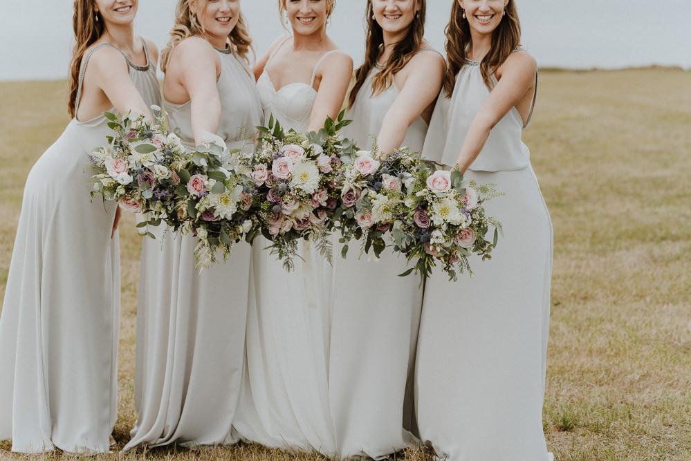 Bouquet Flowers Bride Bridal Pink Rose Dahlia Astilbe Greenery Foliage RIbbon Bridesmaids Bre Pen Farm Wedding Nick Walker Photography