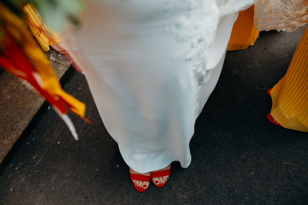 Red Shoes Bride Bridal Colourful Stretch Tent Wedding Peter Mackey Photography