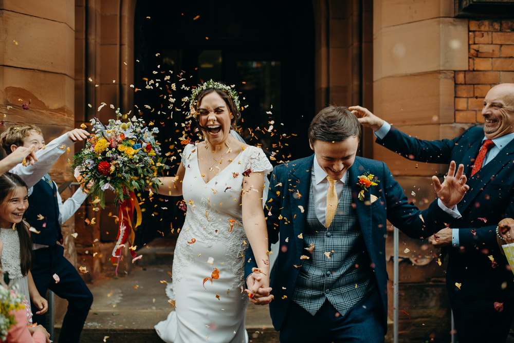 Confetti Throw Colourful Stretch Tent Wedding Peter Mackey Photography