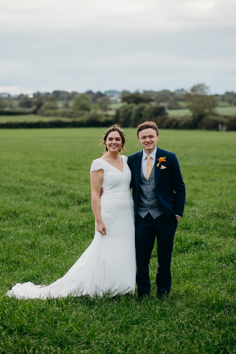 Bride Bridal Dress Gown St Patrick Lace Cap Sleeves Colourful Stretch Tent Wedding Peter Mackey Photography