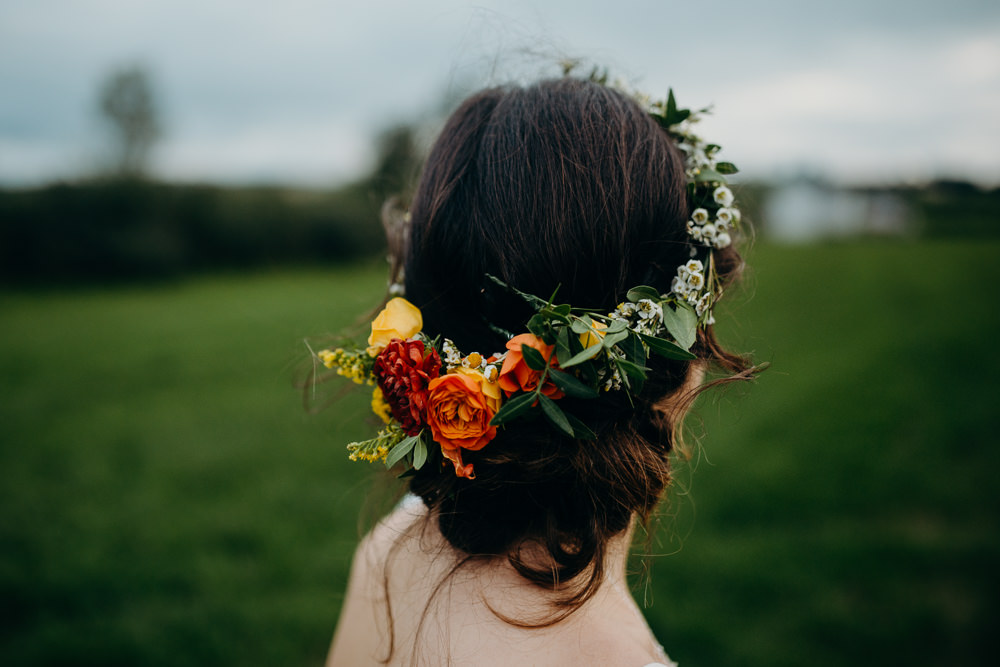 Hair Bride Bridal Flower Crown Flowers Style Up Do Colourful Stretch Tent Wedding Peter Mackey Photography