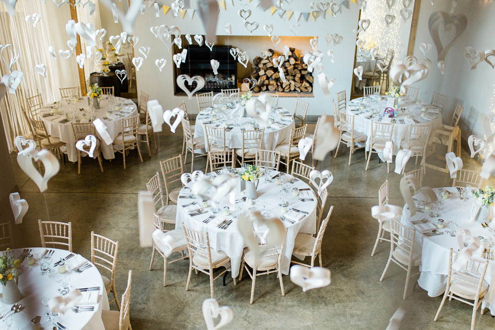 White Paper Heart Hanging Decor Creative Summer Wedding Gemma Giorgio Photography