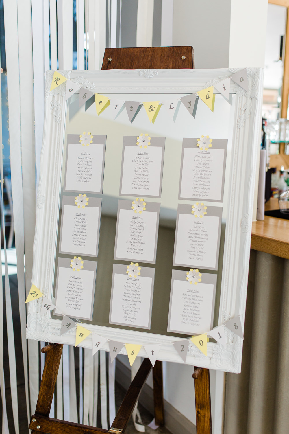 Table Plan Bunting Grey Yellow Frame Mirror Seating Chart Creative Summer Wedding Gemma Giorgio Photography