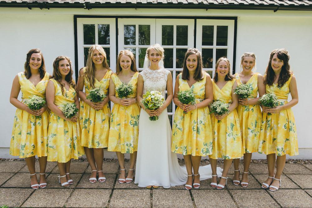 Short Yellow Floral Bridesmaids Bridesmaid Dress Dresses Damerham Village Hall Wedding Lisa-Marie Halliday Photography