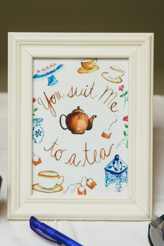 Love Quote Sign Tea Damerham Village Hall Wedding Lisa-Marie Halliday Photography