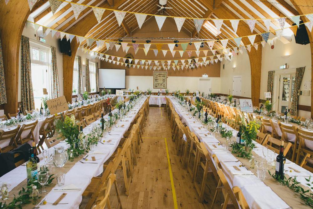 Bunting Long Tables Decor Damerham Village Hall Wedding Lisa-Marie Halliday Photography