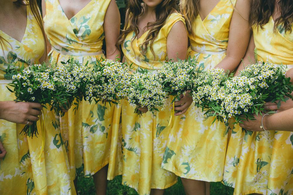 Short Yellow Floral Bridesmaids Bridesmaid Dress Dresses Daisy Daisies Bouquet Flowers Damerham Village Hall Wedding Lisa-Marie Halliday Photography