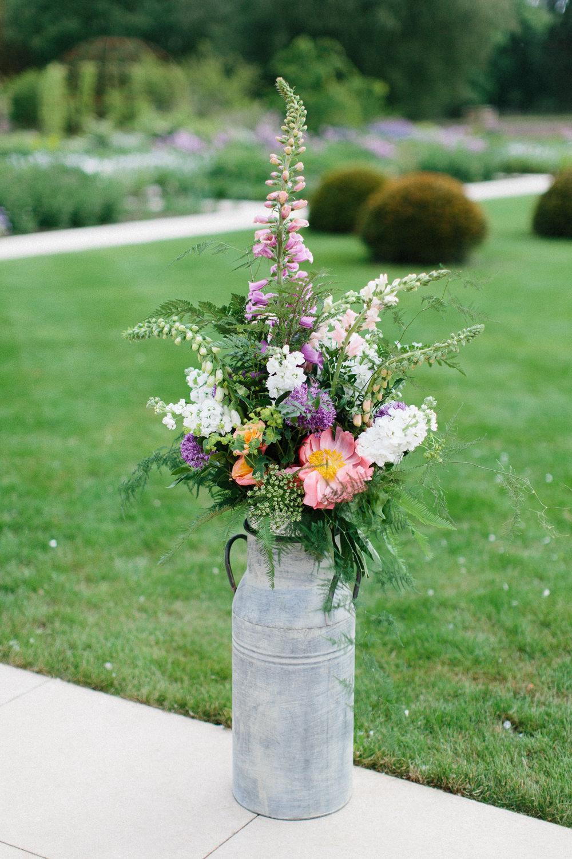 Milk Churn Flowers Floral Foxglove Stocks Garden Ceremony Wedding Melissa Beattie Photography