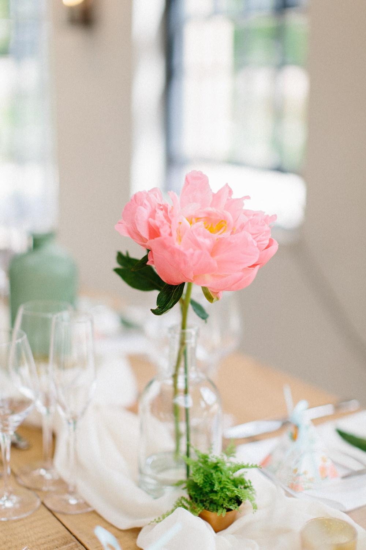 Peony Glass Bottle Table Centre Garden Ceremony Wedding Melissa Beattie Photography