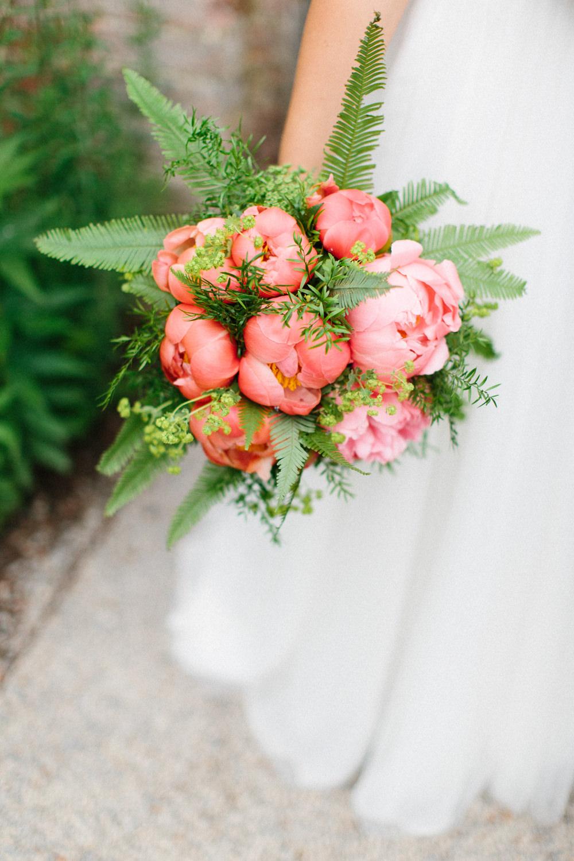 Coral Peony Bouquet Bride Bridal Garden Ceremony Wedding Melissa Beattie Photography
